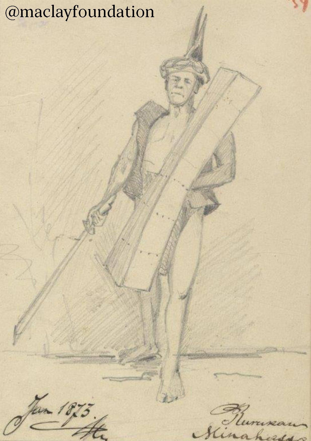 Представитель одного из племен острова Сулавеси, Индонезия (рисунок Н. Н. Миклухо-Маклая)