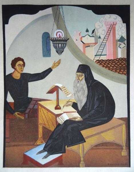 «Борис Годунов» («Ночь. Келья в Чудовом монастыре». Иллюстрация В. И. Шухаева, 1929)