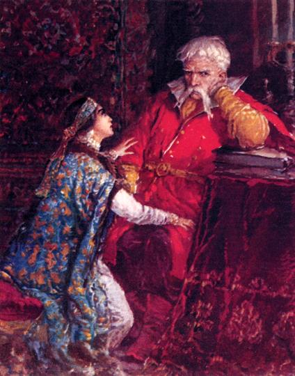 Мария и Мазепа (из серии иллюстраций В. А. Серова к поэме А. С. Пушкина «Полтава», 1949)