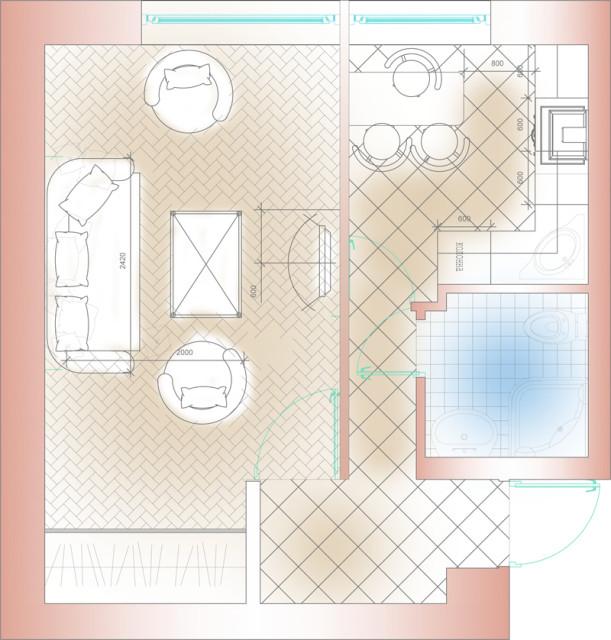 443Дизайн комнаты студии с кухней 18 кв м