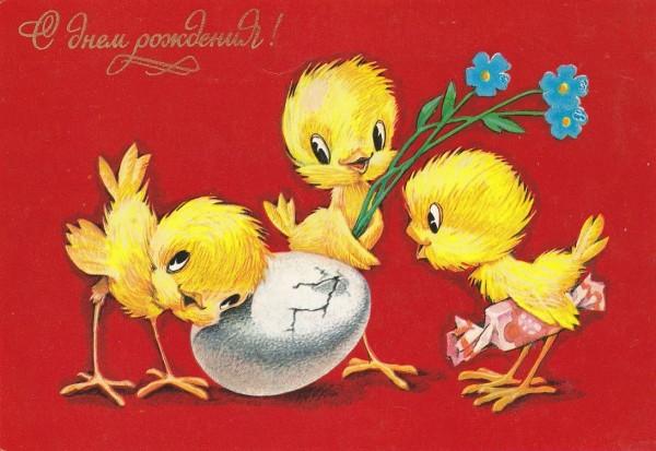 Открытка с Днем рождения 3 цыпленка около яйца.jpg