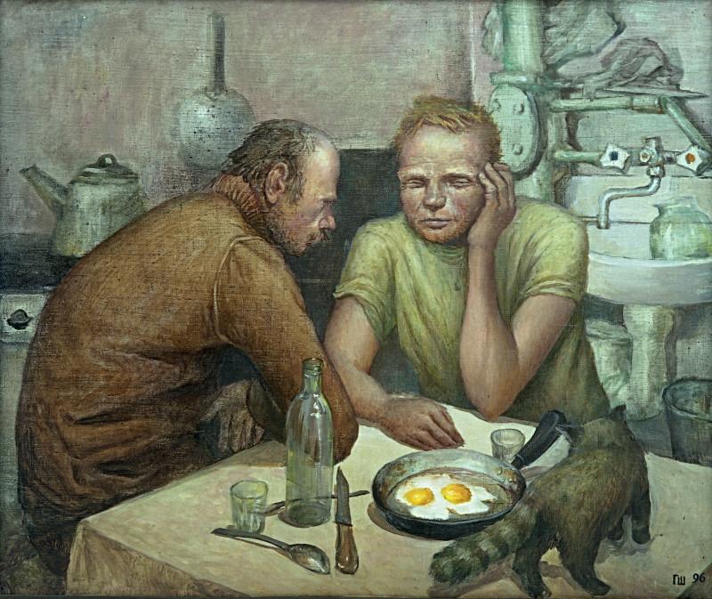 картина спонтанная пьянка художник геннадий шаройкин 1996 год холст, масло, 75х90 см