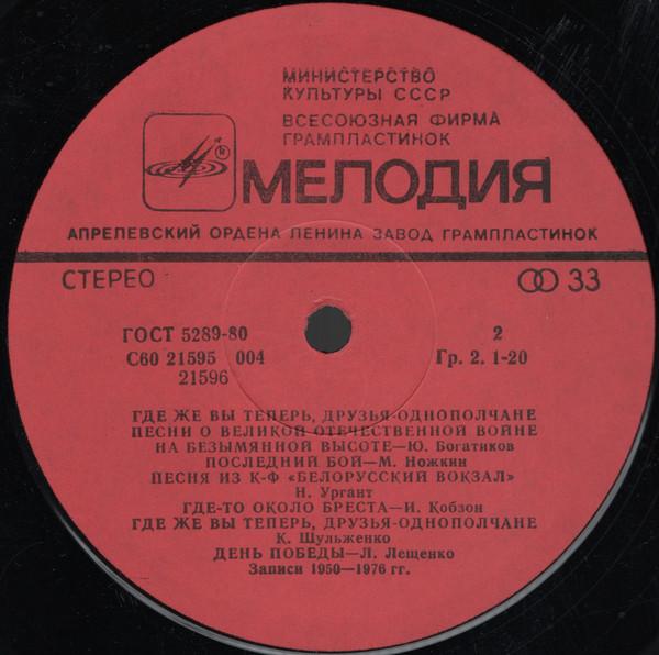Где же вы теперь друзья-однополчане 1984 песня из к-ф Белорусский вокзал Нина Ургант.jpg