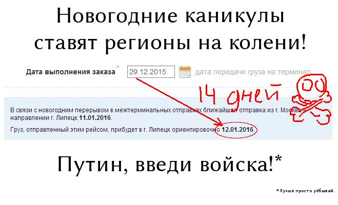 Новогодние каникулы ставят регионы на колени! Путин, введи войска