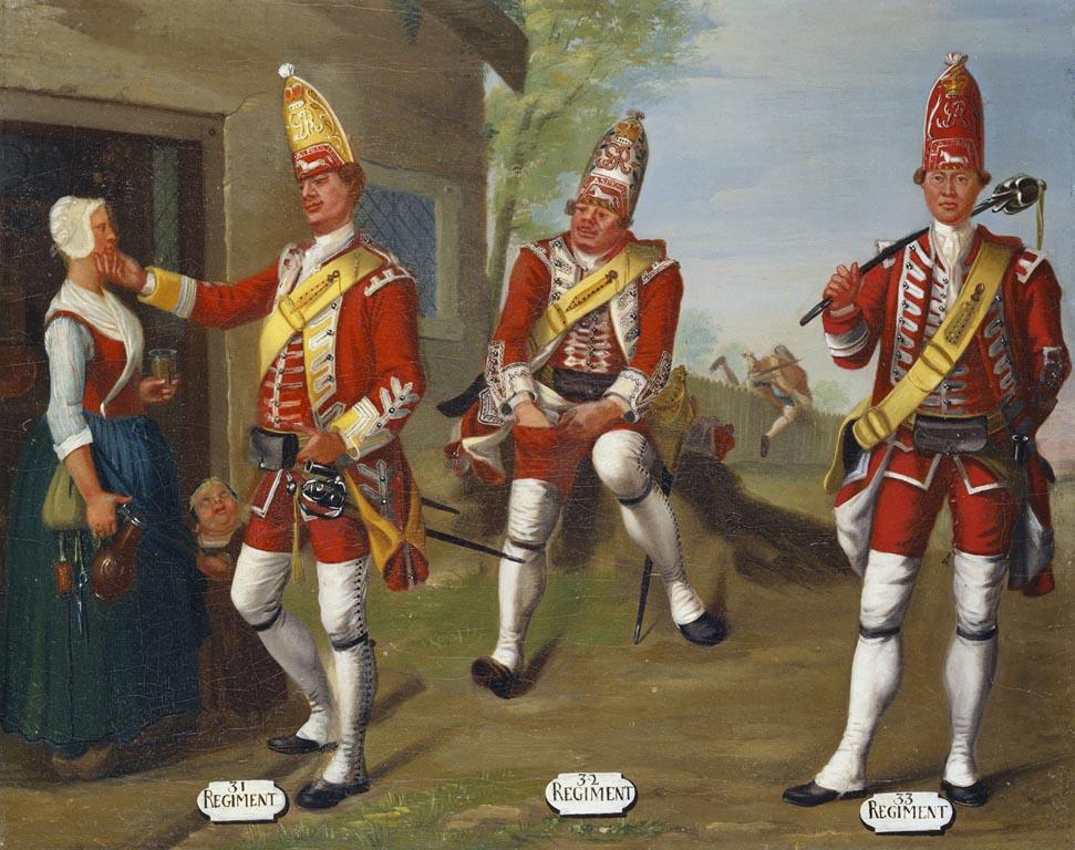Grenadiers, 31st, 32nd and 33rd Regimants of Foot, 1751