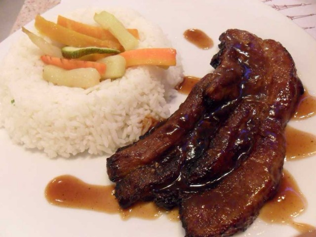 And I had their Pork Chop Au Poivre ( 2 pcs. marinated pork chop ...