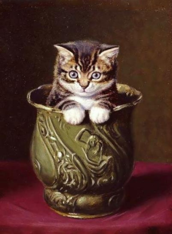 «Котёнок в вазе», Горацио Генри Колдери, XIX век.