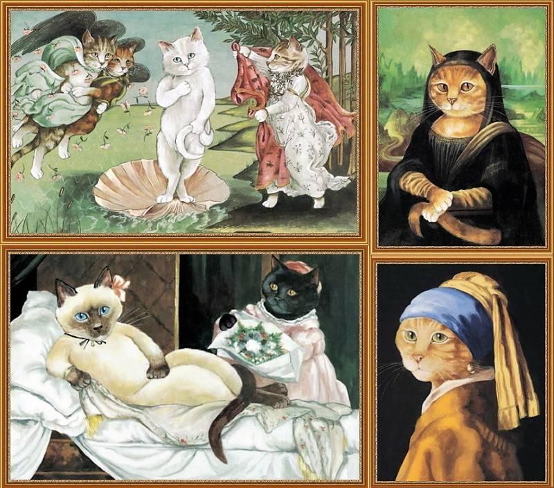 Иллюстрации из книги Сьюзен Герберт «Cats Galore: A Compendium of Cultured Cats»