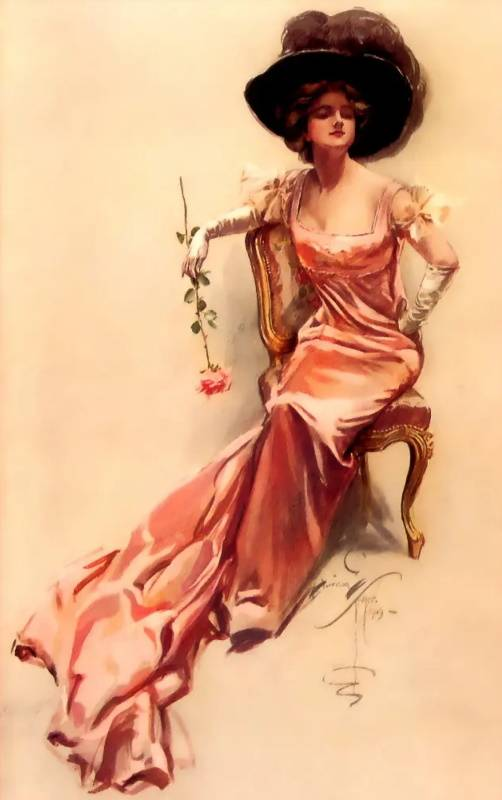«Дама с цветком», Харрисон Фишер
