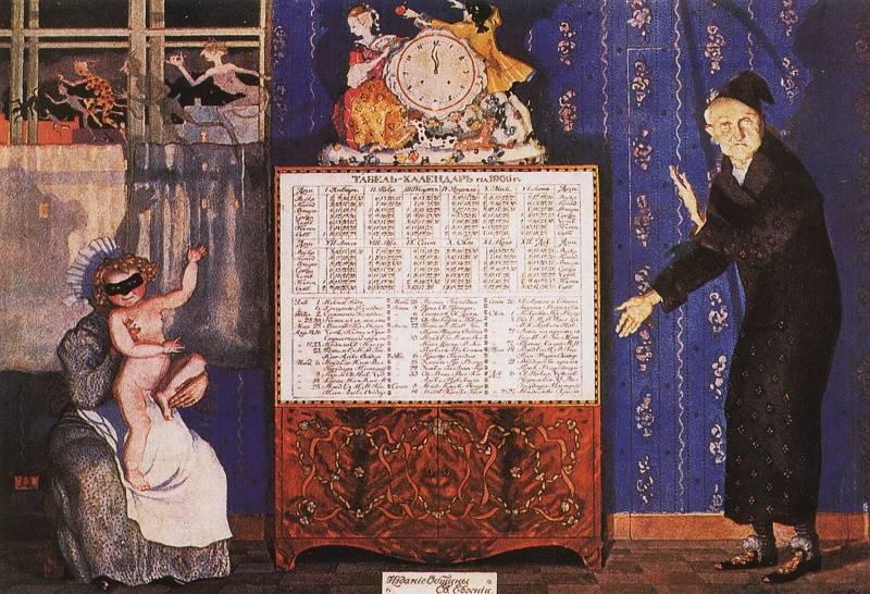 «Новый и старый год. Обложка табель-календаря на 1905 год», Константин Сомов.