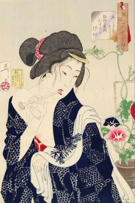 «Уставшая девушка периода Киока чистит зубы», Цукиока Ёситоси