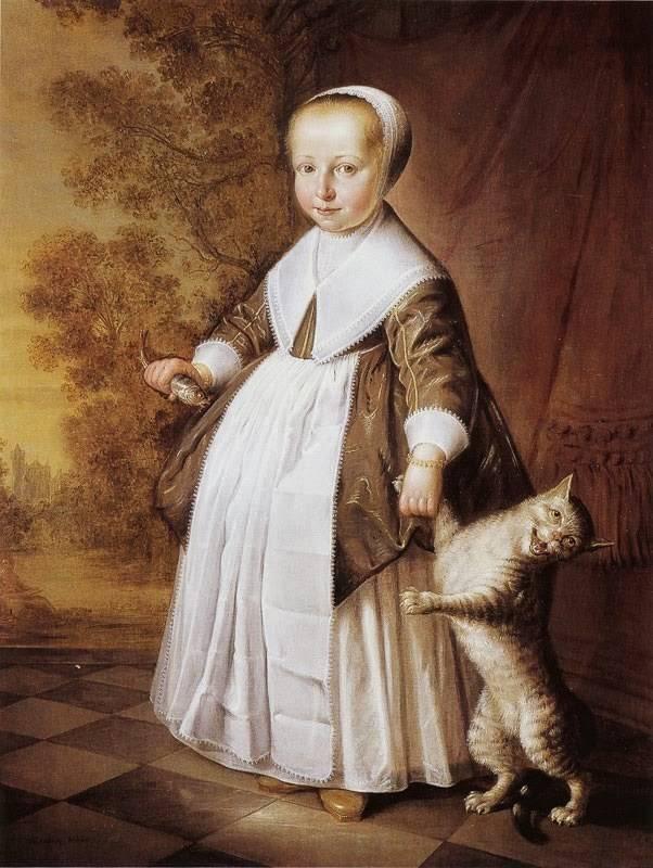 «Четырехлетняя девочка с кошкой и рыбкой», Якоб Герритс Кёйп