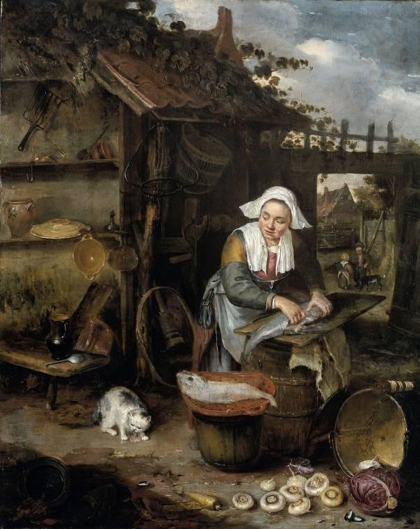 «Домохозяйка чистит рыбу во дворе», Хендрик Потьюл