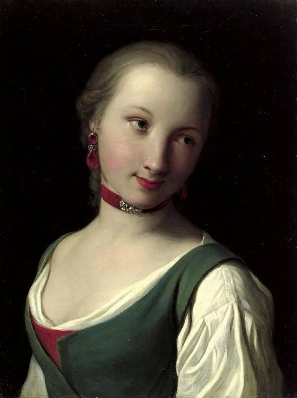 «Портрет женщины с зелёным жилетом, белой блузкой и красным колье», Пьетро Ротари