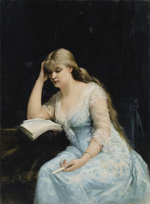 «Молодая женщина читает «Вопрос о разводе» Александра Дюма», Мария Башкирцева