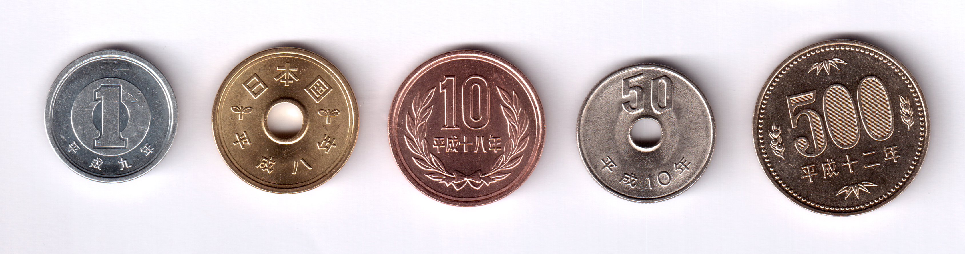worksheet Yen Coins japan set of 5 coins 1996 2006 yen coin ebay 1 1997 y 95 2 96 10 97 50 1998 101 500 2000 125 condition see pict