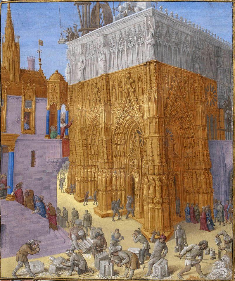 Миниатюра из средневековой рукописи - строительства Нотр-Дам-де-Пари