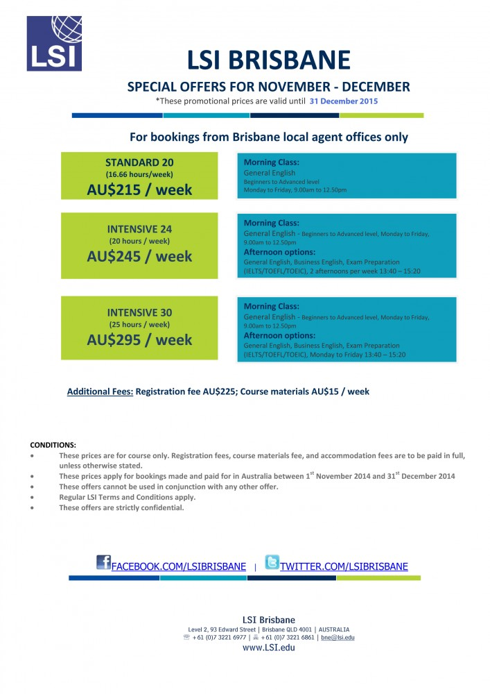 LSI Brisbane special offer for local agents November to December 2014
