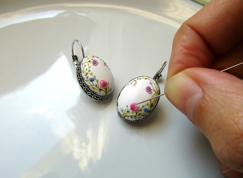 My New Handmade Polymer Clay Embroidery Earrings Lena