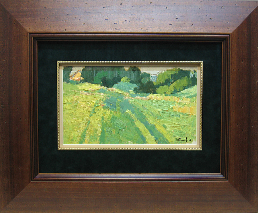 Тимков Н.Е. (1912-1993). Академическая дача. 1960. Масло, картон, 15х27 см