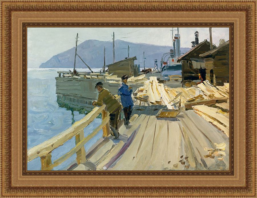 Baykal Lake Boat Station. At the moorage. 1961. Oil on board, 50 x 70 cm-b