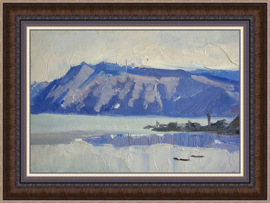 A. Vasiliev. Baykal lake near Sokhurte. 1963. Oil on board, 10 x17 cm-b