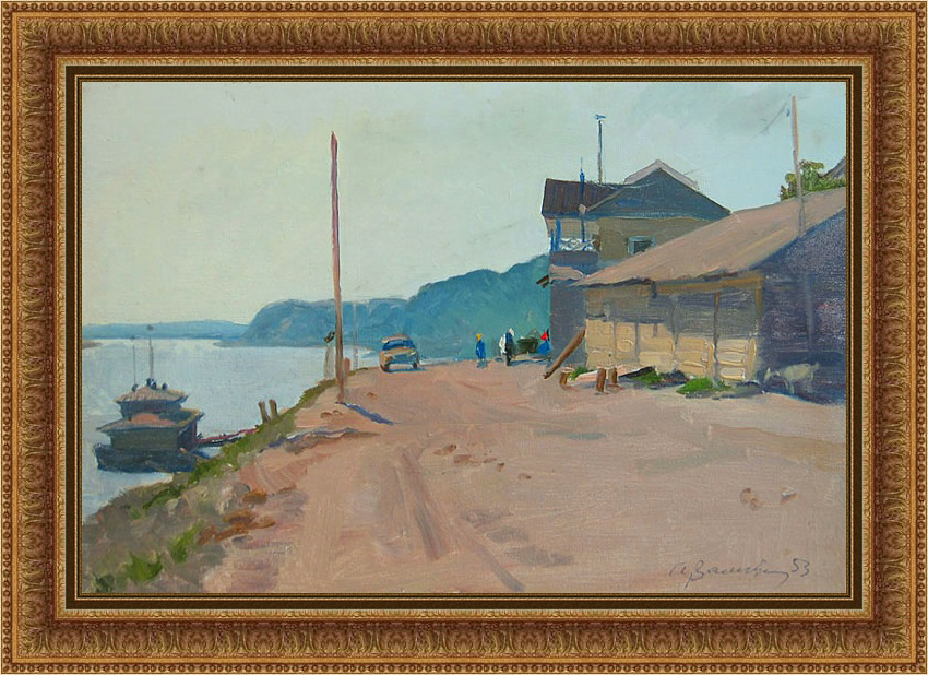 A. Vasiliev. Landing-stage in Elabuga. 1953. Oil on board, 23 x 35 cm-b