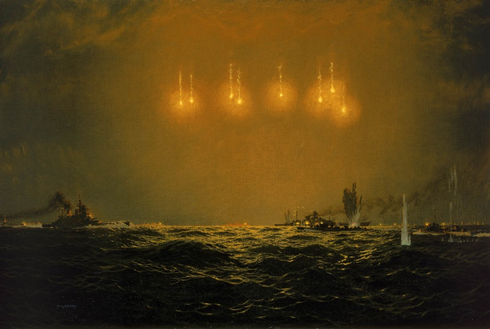 Sinking of the Scharnhorst, 26 December 1943. A representation of the sinking of the German battleship, 'Scharnhorst', created as an assignment for the War Artists' Advisory Committee. After she had made two unsuccessful attempts to attack