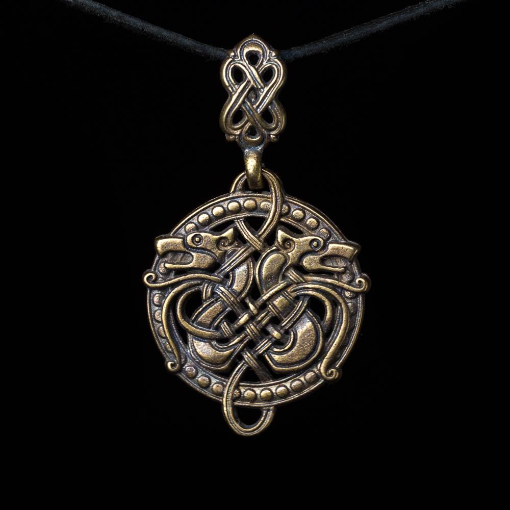 Celtic Wolves Pendant Brass Handmade Norse Pendant