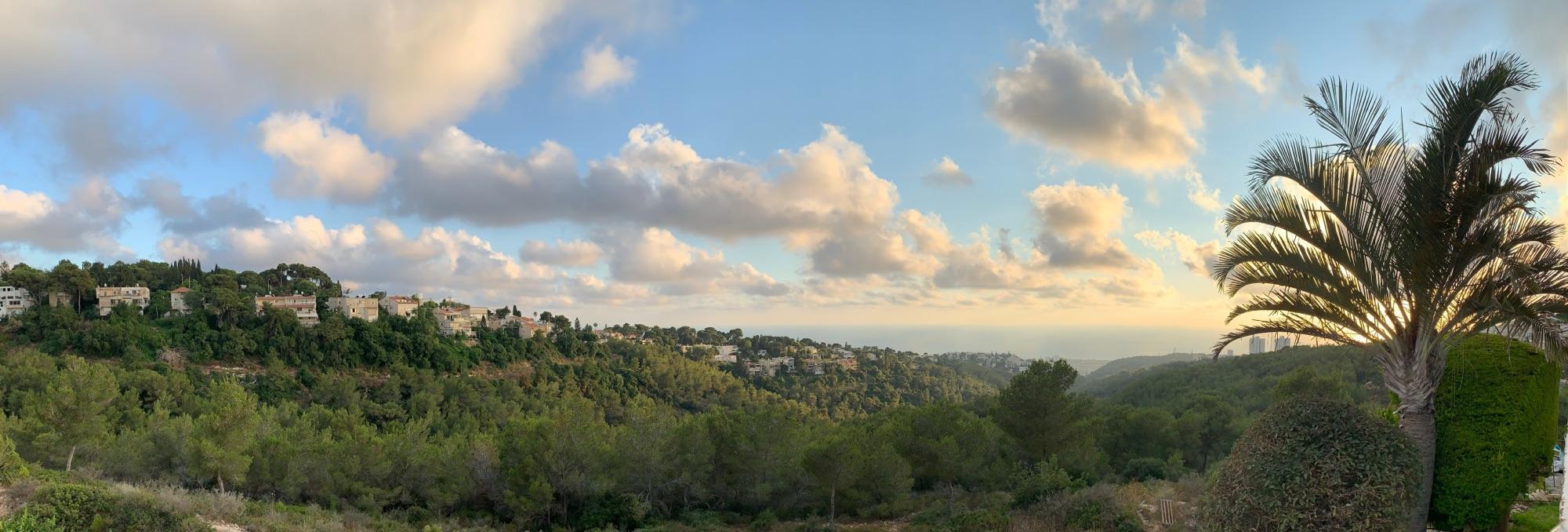 Хвйфа, вид на Юго-Запад с горы Кармель.Слева район вилл «Дэния», внизу у моря город-спутник Тират а-Кармель (он же Тира)