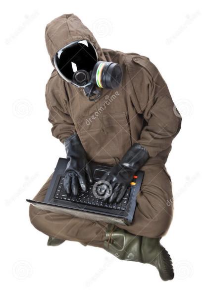 man-hazard-suit-laptop-wearing-nbc-suite-nuclear-biological-chemical-31393077