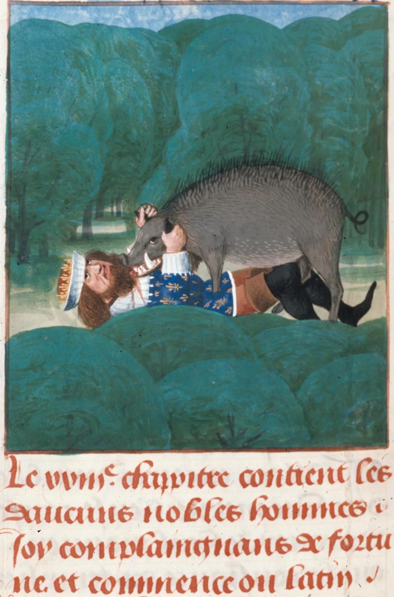 Смерть Филиппа IV. Миниатюра из французской рукописи сочинения Джованни Боккаччо «О несчастьях знаменитых людей»Wikimedia Commons
