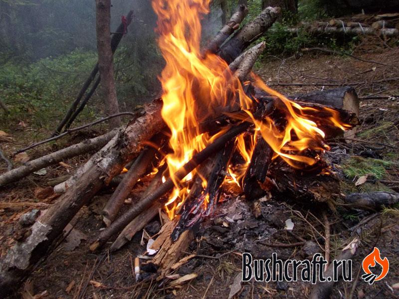 Костер из сырых дров