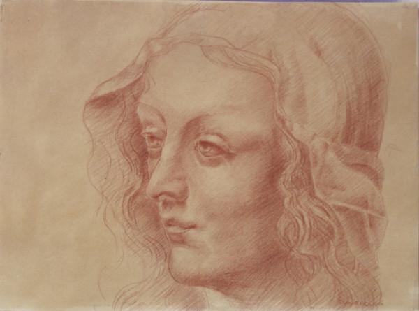 6 Павло Вишенський. Жіноча голова. Копія Рисунка Леонардо да Вінчі. Сангіна sait