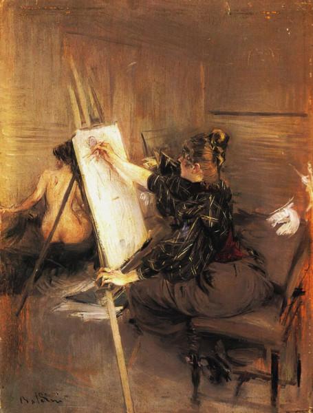 Giovanni Boldini la pittrice Ruth Sterling nel suo atelier 19 st privata