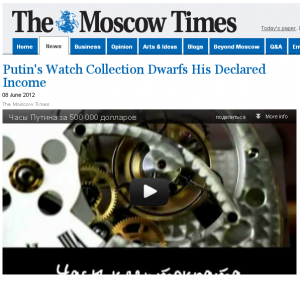 "The Moscow Times Putin""s Watch Collection Dwarfs His Declared Income"