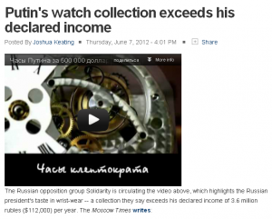 "Foreign policy Putin""s watch collection exceeds his declared income"