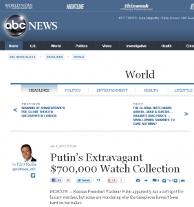 ABCnews Putin's Extravagant $700,000 Watch Collection