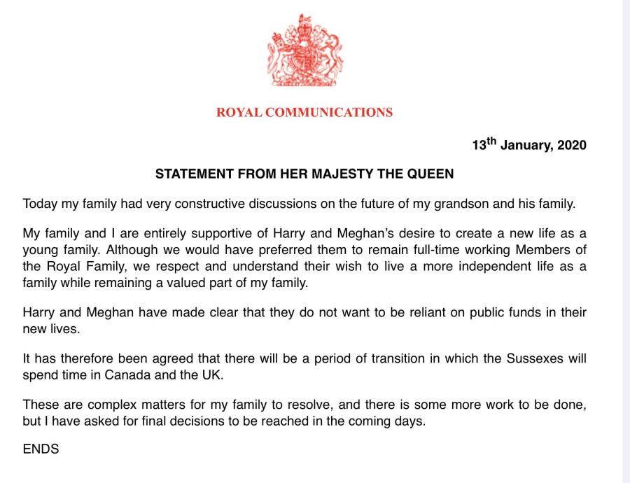 Заявление королевы