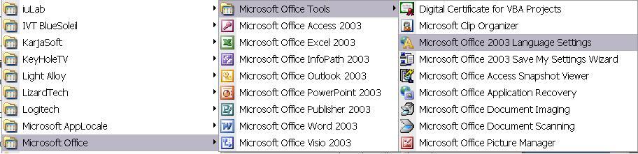 Языковая поддержка для Office 2003