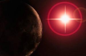 Планета с красным свечением-small