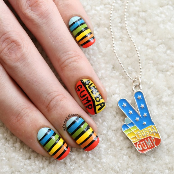 31dc2014 inspired by a flag - rainbow hippie flag peace love multicolor forrest gump bubba shrimp company nails nailart радуга ногти форест гамп хиппи lets nail moscow 1
