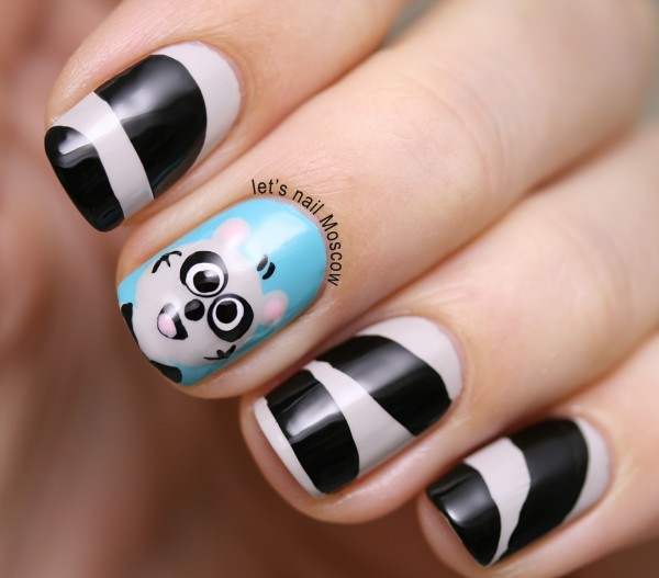 31dc2014 inspired by tutorial racoon nails nailart nail art essie copa cab-ana china glaze liquid leather cuccio quick as a bunny маникюр ногти енот мастер-класс lets nail moscow 1
