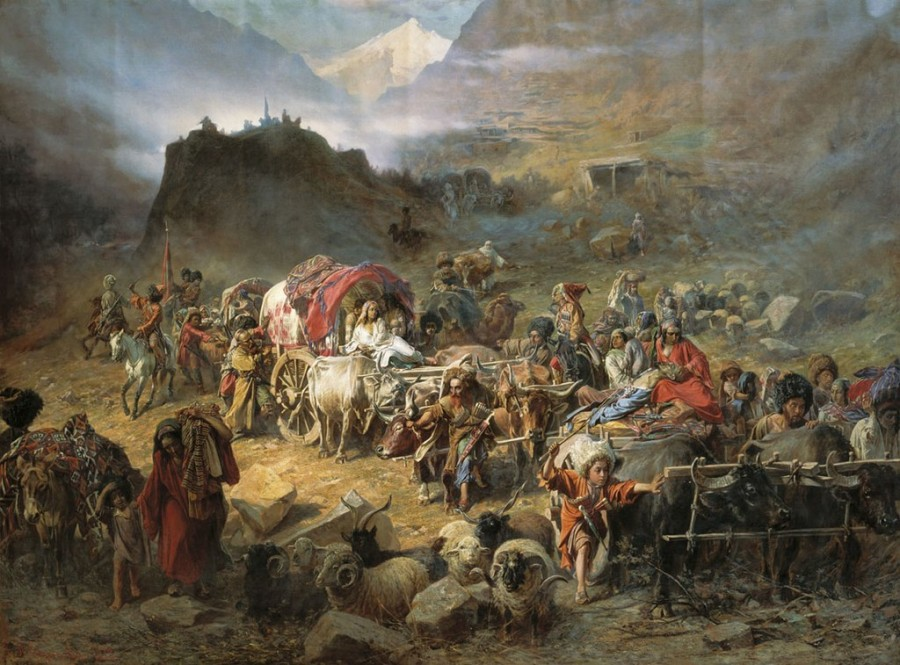 1024px-Pyotr_Nikolayevich_Gruzinsky_-_The_mountaineers_leave_the_aul