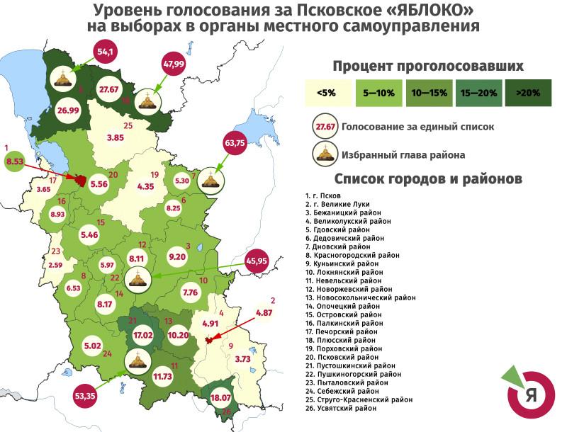Карта Псковской Яблости. Образец 2019 года.