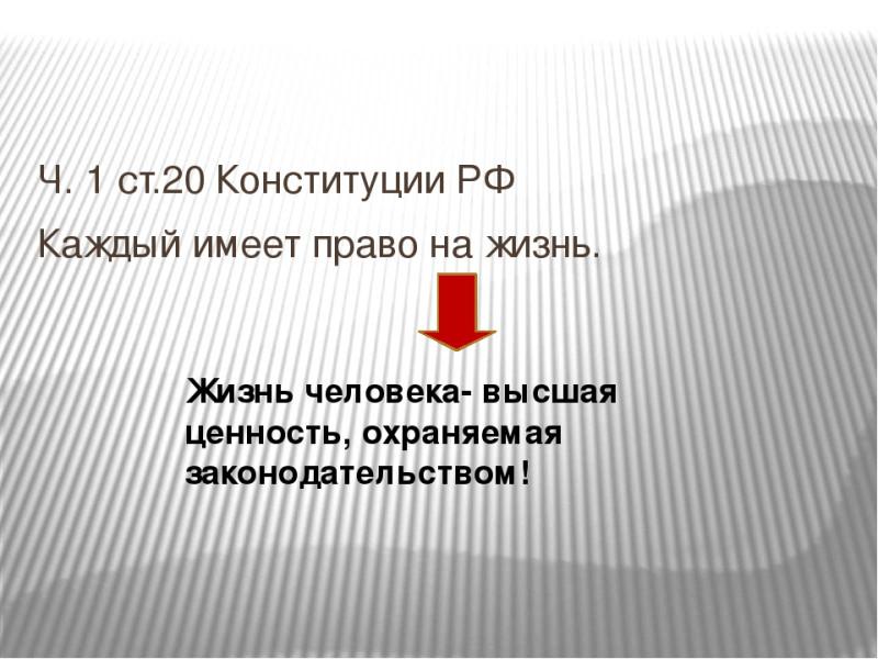 Каждый имеет право на жизнь. Часть 1 статьи 20 Конституции Российской Федерации.
