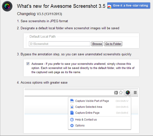 What s new for Awesome Screenshot 3.5