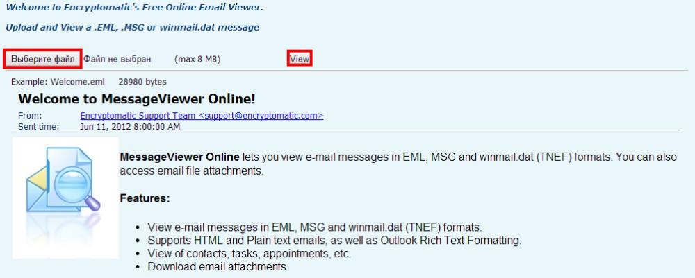 Free MSG EML Viewer   Free Online Email Viewer