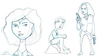 Sketches - Inara, Mal and Zoe