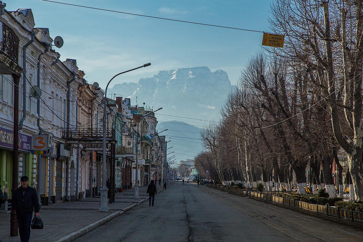 Столица Северной Осетии в феврале.